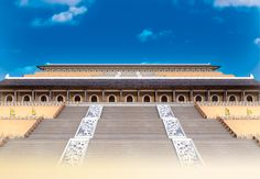 Each of China's dynasties had its own unique architectural style. Tang Dynasty architects favored thatched roofs and straight eaves. During the Ming and Qing, they preferred colorfully engraving their architecture, with vermillion and yellow hues reserved for imperial residences. – Shen Yun Backdrop
