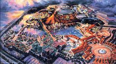 Dan Goozee—Tokyo DisneySea aerial.  Theme park incl. Mediterranean Harbor, Mermaid Lagoon, Mysterious Island & more, opened 4 Sep 2001. Astrogeo pos.: located in the combination of relaxed, spiritual water sign pisces the sign of the sea, dream world, imagination, movies, mystification, leisure, holidays, illusions and self-protective earth sign Virgo sign of harbours, facing the ocean, reason, optimal use of ressources, spiritual entities of plants & nature like dwarfs, gnomes, elves. FL 3.