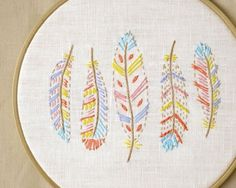 Boho hand embroidery patterns PDF feather by NaNeeHandEmbroidery