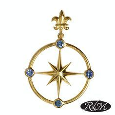 SAPPHIRE COMPASS ROSE - Sapphire compass rose pendant 14k gold from RdM Jewelers. Classic Compass Rose Pendant by RdM Jewelers is a perfect addition to you nautical jewelry collection.