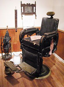 A barber chair in a recreation of J. N. Hooper's Barber Shop (Seattle, WA circa 1880s) at the Museum of History and Industry