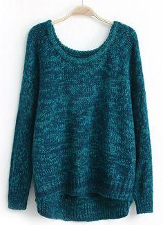 Синий с длинным рукавом Свободный свитер с капюшоном