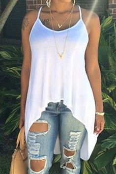 ripped jeans and white tank