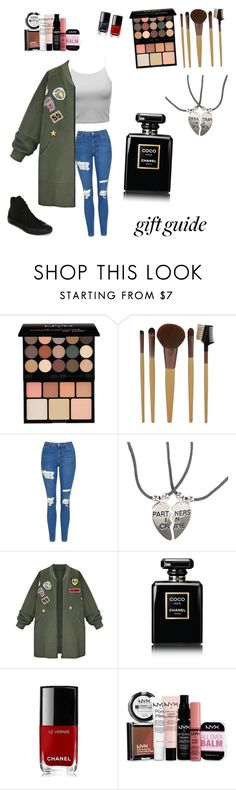 """""""Bff gift"""" by kayliefashon ❤ liked on Polyvore featuring NYX, Topshop, WithChic, Chanel and Converse"""