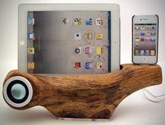 White Oak Tree Speaker Docking Station for Apple iPhone iPad