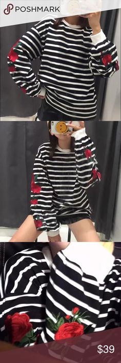 """Sleeve embroidered 🌺black strip sweatershirt Super pretty🌺Super delicate embroidery flower on sleeves. Bust:42"""" around, length: 22-23"""" around, sleeve:23.5"""", shoulder to shoulder: 21-22""""🌺🌺 Tops Sweatshirts & Hoodies"""