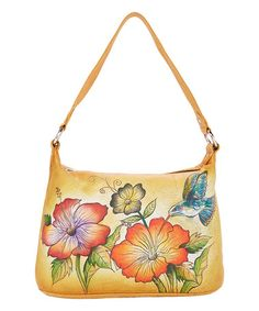 Look what I found on #zulily! Tan Floral Hand-Painted Leather Hobo #zulilyfinds
