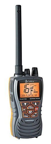 Cobra MRHH350FLT Floating VHF Radio ***  The best value in our handheld VHF radio line up! Backed by 50 years of Cobra quality, this floating radio has an orange core for higher visibility and is easy to retrieve if dropped overboard. It features 6 Watts of power for longer range communications and full access to all NOAA weather channels and alarm tones for weather emergencies. It also includes all of the core features like Noise canceling microphone, JIS7/IPX7 rated Submers