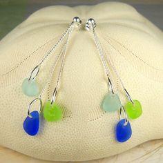 GENUINE Sea Glass Earrings Trio Cobalt by SurfsideSeaGlassGems