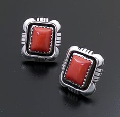 Roie Jaque (Navajo) - Rectangular Apple Coral & Sterling Silver Cut & File Earrings #43920 $165.00