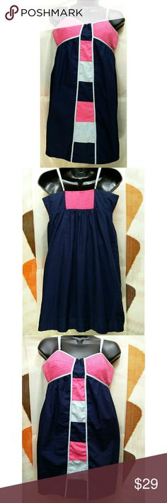 ANTHROPOLOGIE Color Block Shift Dress Amazing ANTHROPOLOGIE color block dress. Dark Blue with pink and white color block pattern. Ruched bodice The back has smocking in pink. Adjustable straps. Comfy cotton fabric. Size small (will likely fit a medium). Approximate measurements of the dress are Bust 36 inches and Length 34 inches. Very good condition. This Anthropologie dress is perfect for summer. Anthropologie Dresses