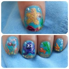 Under the sea nails done by me. www.instagram.com/triracialbeauty2