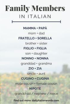 Family Members in Italian Language Italian Grammar, Italian Vocabulary, Italian Phrases, Italian Words, Italian Language, Korean Language, Spanish Language, Japanese Language, Basic Italian