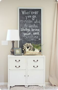 Add a black board to your decor so you can write an inspiring quote #home #decor