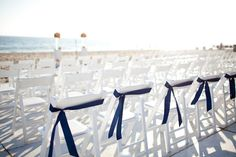 Simple Navy and White Ceremony - Navy, White, and Coral Color Palette - Beach Wedding Ceremony at The Sunset Restaurant - Malibu, California - Photography: www.shannonleeimages.com