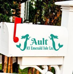 Mermaid mailbox Vinyl decal Address sticker Mail Box coastal beach decor Set of Two Personalized gifts