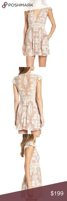 "For Love & Lemons Nordstrom Salud Lace Mini Dress From the exclusive new collection between Nordstrom and For Love & Lemons, the Salud lace mini dress in Medium. Reminds me a bit of the Violetta...embroidered flowers over cafe au lait colored mesh overlay, romantic & flirty. Plunging lace-trimmed neckline, flutter sleeves, side slant pockets, back zip closure. Measures 33"" in length. Fully lined. Thank you so much for looking! Xx❤️ For Love and Lemons Dresses Mini"