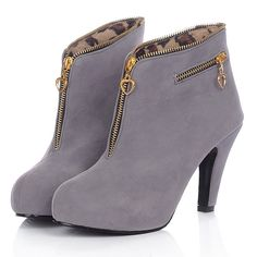 Find More Boots Information about 2014 Winter Fashion Boot Spike High Heels Round Toe With Zipper Flock Surface Ankle Boots Botas Femininas Free Shipping XWX579,High Quality boots skate,China boots pvc Suppliers, Cheap boots heart from thomas tong's store on Aliexpress.com