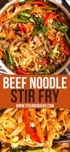 Beef Noodle Stir Fry, Beef And Noodles, Asian Recipes, Beef Recipes, Noodle Recipes, Rice Recipes, Easy Dinner Recipes, Easy Meals, Simple Recipes