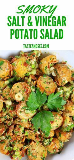 Smoky Salt and Vinegar Potato Salad – full of tangy smoky flavored baby yukon potatoes, crispy bacon, fresh green onions, parsley and smoked salt. #potatosalad http://tasteandsee.com