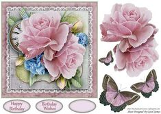 Simplicity 3 on Craftsuprint designed by Carol James - A beautifully simple floral 7 x 7 topper with decoupage pieces and 2 sentiment tags (plus a blank tag)Sentiments include:Birthday WishesHappy Birthday - Now available for download!