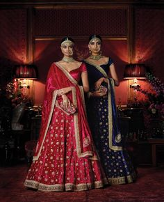 Red and blue embroidered lehengas with velvet dupattas and plain blouses - Sabyasachi Firdaus 2016