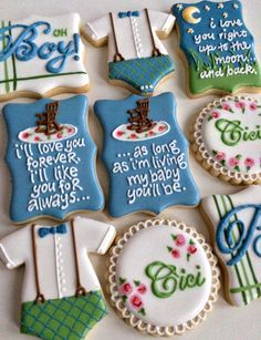 Baby Boy, onesie, I'll love you forever, Guess how much I love you, book baby shower cookies