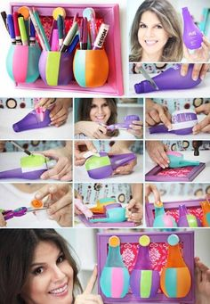 DIY Plastic Bottle Pen Holder - http://www.amazinginteriordesign.com/diy-plastic-bottle-pen-holder/
