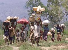 """""""East Timorese refugees carry their belongings as they cross the border back into their homeland near the town of Memo Tuesday. Thousands of East Timorese, who were forcibly deported to West Timor by pro-Jakarta authorities following a vote for East Timor's independence from Indonesia, trickled across the border after walking in intense heat for hours, with at least five people reported dead during the trek. (Jason Reed/Reuters)"""""""