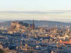 Edinburgh Castle and the Royal Mile from Arthurs Seat Scottish Parliament, Travel Uk, Edinburgh Castle, Homeland, Dream Vacations, Old Town, Castles, Paris Skyline, Scotland