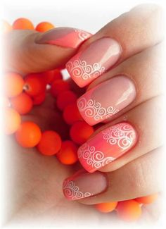 Nail art over coral french