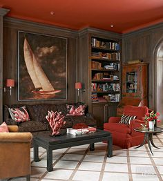 Persimmon paint on this ceiling works with dark paneled walls to wrap visitors… Decor, Ikea Decor, Interior Design, Red Ceiling, Room Furnishing, Ceiling Paint Colors, Interior, Home Decor, Painted Ceiling