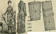 Tygodnik Mód 1880.: Dress from bordure fabric, patterns to the tunique drapery.