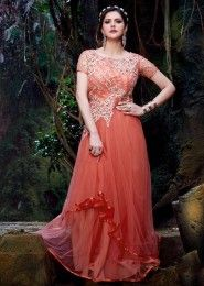 Party Wear Georgette Peach Embroidered Work Anarkali Suit