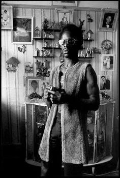 Chris Steele-Perkins. London. Portrait of a local musician in Brixton. 1974.