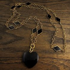 Black Heart Necklace by ErstwhileJewelry on Etsy