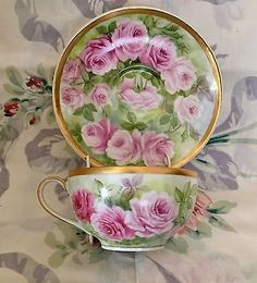 French Limoges Cup Saucer Haviland France Hand Painted Roses