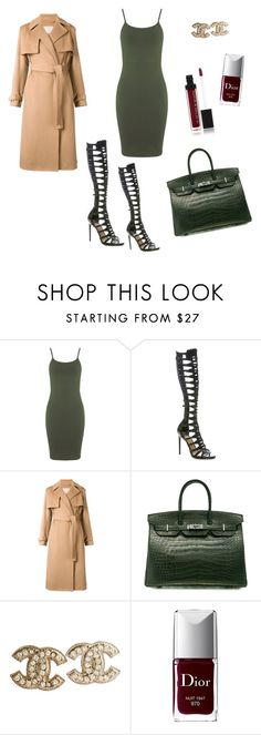 """Camel and Army Green"" by minchu ❤ liked on Polyvore featuring Miss Selfridge, Paul Andrew, Jason Wu, Hermès, Chanel, Christian Dior, Le Métier de Beauté, gladiators, armygreen and camel"