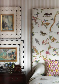 Kit Kemp for Chelsea Textiles, wonderful embroideries, beautiful frames against tri-tone stripes