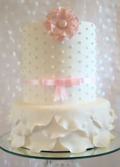 Polka Dot Ruffle Cake - cute for a baby shower!