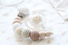 Wood/crochet pacifier clip