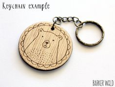 Classic Bunny pendant Pyrography Wearable Art Wood por BarkerWild