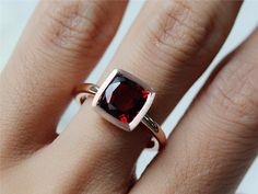 14K Rose Gold 8mm Cushion-Cut Garnet Ring Colored by InOurStar