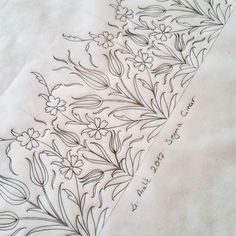 S& - Tehzip - Islamic Patterns - Border Embroidery, Hand Embroidery Designs, Embroidery Art, Embroidery Stitches, Embroidery Patterns, Motifs Islamiques, Turkish Pattern, Simple Line Drawings, Islamic Patterns