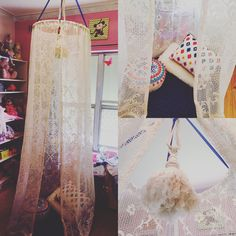 DIY play tent.  $4 for hula hoop, $6 for curtain, $3 for chandelier tassel, and $5 for blue ribbon  pretty proud of my first try at something inspired from Pinterest