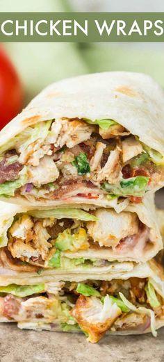 Chicken Wrap Recipes Easy, Grilled Chicken Wraps, Chicken Flatbread, Bbq Chicken Salad, Recipe Chicken, Chicken Bacon Ranch Wrap, Buffalo Chicken Wraps, Bacon Wrapped Chicken, Avacado Chicken Wrap