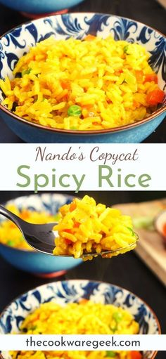 Nando's style spicy portuguese rice recipe. The ultimate copycat recipe for the iconic Nandos spicy rice. Great side dish for peri peri chicken. See how to make it in less than 15 minutes! #nandos #spicyrice Spicy Rice Recipe, Rice Recipes, Chicken Recipes, Cooking Recipes, Nandos Chicken Recipe, Portuguese Rice, Portuguese Recipes, Air Fryer Recipes, Side Dishes