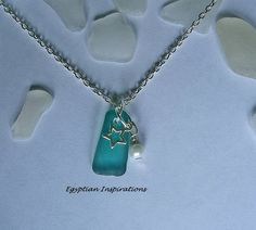 Teal sea glass necklace. Sea beach glass by EgyptianInspirations, $27.99
