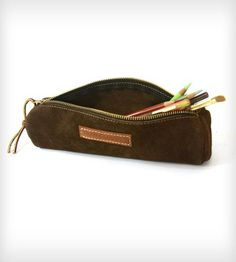 Round Seude Leather Pencil Case by Red Clouds Collective on Scoutmob Shoppe