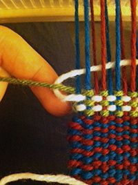 To encircle the active weft, pull both it andthe inactive weft out. The, loop the active weft around theinactive weft Whether you go over or under theactive loop of weft depends on whichside of your selvedge you're on. Let's talk color changes. I've made it to the color-and-weave section of The Weaver's Idea Book but…